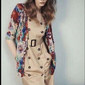 Anthropologie Moulinette Soeurs Khaki Trench Dress Safari Style Button Up